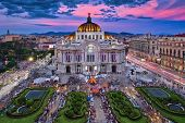 Photo Of The Palacio Of Bellas Artes At The Sunset Time poster