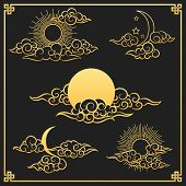 Oriental Clouds, Sun And Moon. Gold Sun And Moon With Clouds In Old Decorative Traditional Asian Or  poster