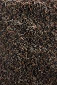 Dark Loose Leaf Tea Background, Black Golden Leaves Blend Texture Pattern Closeup Detail, Vertical L poster