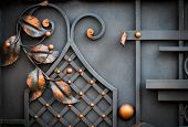 Details, Structure And Ornaments Of Forged Iron Gate. Floral Decorative Ornament, Made From Metal. V poster