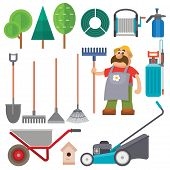 Garden Equipment Flat Set Vector Gardener Character With Rake Illustration Agriculture Farming Tools poster