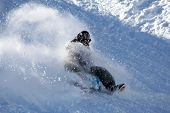 stock photo of toboggan  - Wild toboggan ride in the powder snow - JPG