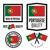 Portugal Quality Isolated Label Set For Goods. Exporting Stamp With Portuguese Flag, Nation Manufact poster