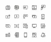 Screen Icons. Set Of Twenty Line Icons. Player Window, Mobile Phone, Laptop. Screen Concept. Vector  poster