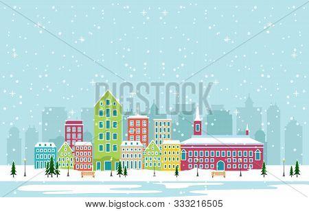 poster of Winter Snow In Copenhagen City Cityscape Skyline Landmark Building Illustration