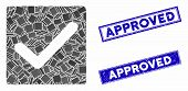 Mosaic Valid Tick Pictogram And Rectangular Rubber Prints. Flat Vector Valid Tick Mosaic Pictogram O poster