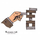 Business Risk Concept Sketch Design. Businessman Pulls Out The Wooden Block, Risking To Break Stack. poster