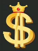 Dollar Golden Symbol With Crown, Currency Logo. Element Of Casino, Object Of Earn Money, Business Su poster