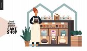 Cake Shop, Cakes On Demand - Small Business Graphics - Owner At The Display -modern Flat Vector Conc poster