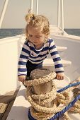 Child Sailor. Boy Sailor Travelling Sea. Boy Sailor Striped Shirt Sea Yacht Travel Around World. Lit poster