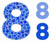 8 Digit Mosaic Of Inequal Parts In Various Sizes And Color Tones, Based On 8 Digit Icon. Vector Abru poster