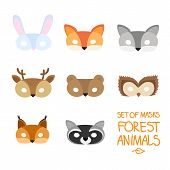 Illustration Set Of Cartoon Animal Forest Carnival Masks: Bear, Fox, Hare, Wolf, Owl, Squirrel, Deer poster