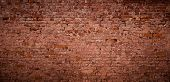 Panoramic Old Messy Red Brick Wall Background. Vintage Brick Texture. Wide Angle Web Banner Or Wallp poster