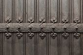 Vintage Metallic Pattern Of Wrought Iron Door. Detail Of Medieval Black Door With Metal Decoration,  poster