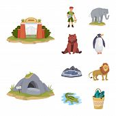 Isolated Object Of Zoo And Park Icon. Collection Of Zoo And Animal Stock Symbol For Web. poster