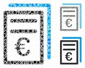 Euro Invoices Mosaic Of Humpy Items In Variable Sizes And Color Hues, Based On Euro Invoices Icon. V poster