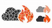 Wild Fire Composition Of Bumpy Pieces In Variable Sizes And Color Tints, Based On Wild Fire Icon. Ve poster