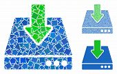 Download Mosaic Of Trembly Items In Variable Sizes And Color Tinges, Based On Download Icon. Vector  poster