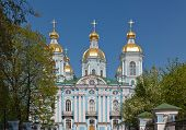 picture of sankt-peterburg  - cathedral Nikolsky gold domes in Sankt - JPG