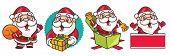Merry Christmas. Cartoon Christmas Santa Claus Set. Santa Claus With Christmas Present And Bag - Vec poster