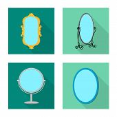 Vector Design Of Reflect And Piece Sign. Set Of Reflect And Furniture Vector Icon For Stock. poster
