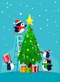 Penguin Family Decorating Christmas Tree. Christmas Cartoon Illustration. poster