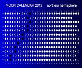 image of northern hemisphere  - Moon calendar 2013 for northern hemisphere on blue background - JPG