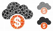 Cloud Dollar Mosaic Of Joggly Pieces In Different Sizes And Color Tints, Based On Cloud Dollar Icon. poster