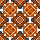Geometric Tribal Black And White Seamless Pattern. Vector Ornamental Ethnic Style Orange Background. poster