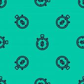 Blue Line Time Is Money Icon Isolated Seamless Pattern On Green Background. Money Is Time. Effective poster