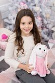 Amazing Gift For Play And Sleep Next To. Happy Child Got Gift For Xmas. Little Girl Hold Soft Toy Gi poster