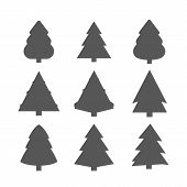 Christmas Trees Set, Black Pictogram. Abstract Christmas Tree Icons. Decorated Conifer Outline And F poster