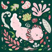Cute Kawaii Axolotl, Baby Amphibian Drawing. Summer Animal Drawing, Funny Cartoon Illustration. Flat poster