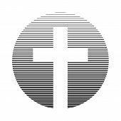 Christian Cross Icon. Linear Christian Logo. Vector Illustration. poster