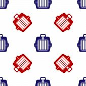 Blue And Red Pet Carry Case Icon Isolated Seamless Pattern On White Background. Carrier For Animals, poster