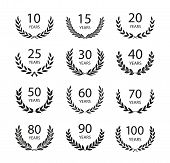Set Of Anniversary Laurel Wreaths. Black And White Anniversary Symbols Isolated On Black Background. poster