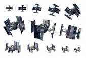 3d Illustration Instances Of An Unmanned Spacecraft Or Satellite Orbiter Isolated On White With The  poster