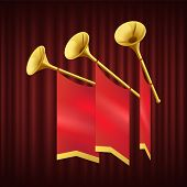 Golden Trumpet With Small Red Flag. Musical Instrument For King Orchestra. Fanfare For Play Music. M poster
