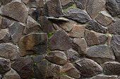 Stone Wall. Wet Wall Of Wild Stone. Stone Background. Stone Texture For Creativity. poster