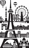 Poster With Landmarks Of Paris, Vector Illustration In Black And White Colors Isolated On White Back poster