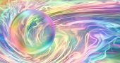 Rainbow Orb And Flowing Rainbow Energy - Transparent Bubble With Rainbow Edges Against An Ethereal G poster