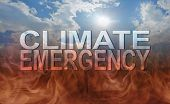 Our Precious Earth Is Subject To A Climate Emergency -  Blue Sun And Sky Background Deteriorating In poster