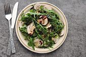 Healthy Salad With Arugula And Raw Champignons. Vegan Raw Food Recipe. Low-calorie Fitness Salad Wit poster