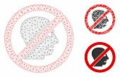 Mesh No Angry Person Model With Triangle Mosaic Icon. Wire Frame Triangular Mesh Of No Angry Person. poster