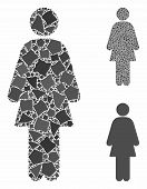 Female Composition Of Inequal Pieces In Variable Sizes And Color Hues, Based On Female Icon. Vector  poster