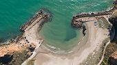 Aerial Top Down View Of Beautiful Bay.  Bolata Beach On Black Sea, Bulgaria. Famous Bay Near Cape Ka poster