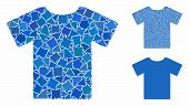 T-shirt Mosaic Of Trembly Elements In Variable Sizes And Color Tones, Based On T-shirt Icon. Vector  poster