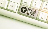 Text Sign Showing Fraud Alert. Conceptual Photo Security Alert Placed On Credit Card Account For Sto poster