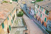Panoramic View Of The Historic Aqueduct Forming Via Dell Acquedotto Pedestrian Street Along The Anci poster
