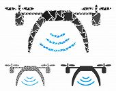Drone Wifi Repeater Mosaic Of Raggy Elements In Different Sizes And Shades, Based On Drone Wifi Repe poster